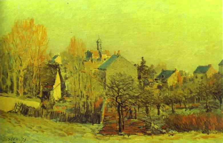 Oil painting:Frost in Louveciennes. 1873
