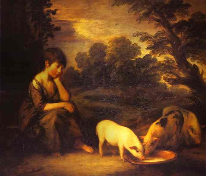 Oil painting:Girl with Pigs. 1782