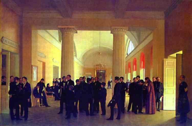 Oil painting:In the Hall of the Law College. 1840