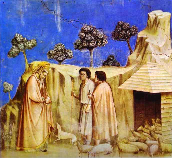 Oil painting:Joachim Taking Refuge among the Shepherds. 1304-1306
