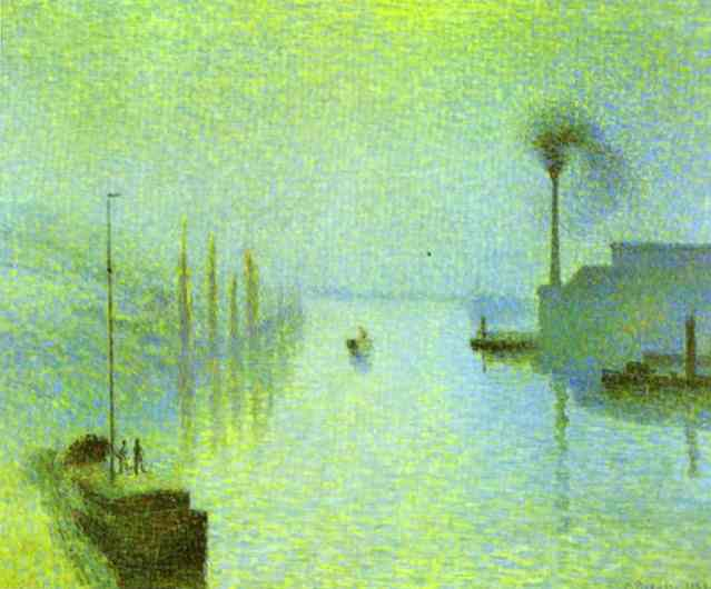 Oil painting:Lacroix Island, Rouen, in Fog.