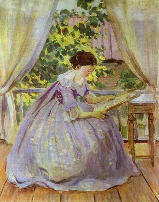 Oil painting:Lady Embroidering. 1901