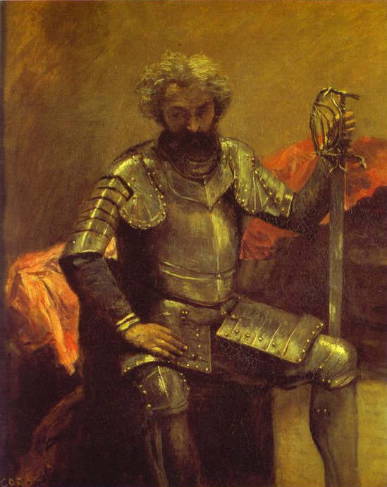 Oil painting:Man in Armor or Seated Man at Arms. c. 1868-1870