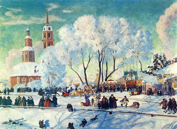 Oil painting: Pancake Tuesday/Maslenitza. 1920
