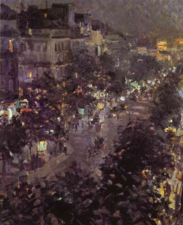 Oil painting: Paris at Night. Boulevard des Italiens. 1908