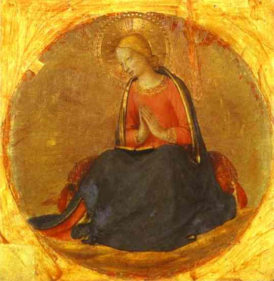 Oil painting:Perugia Triptych: Angel of the Annunciation. 1437