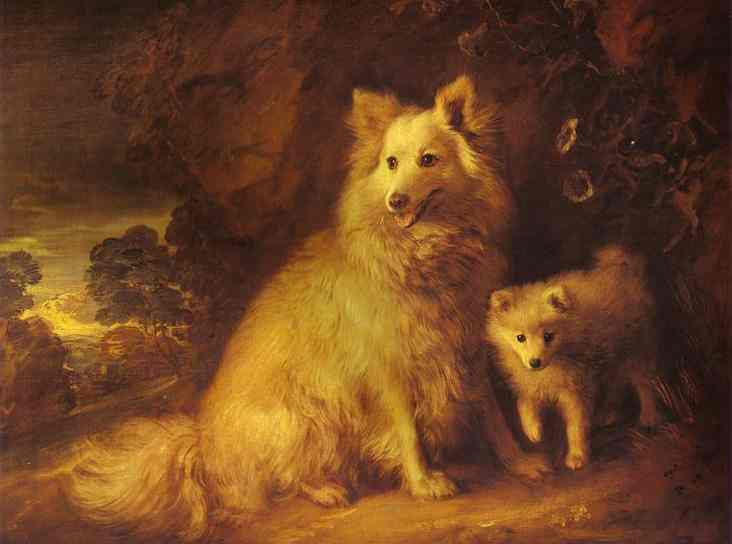 Oil painting:Pomeranian Bitch and Pup. c.1777