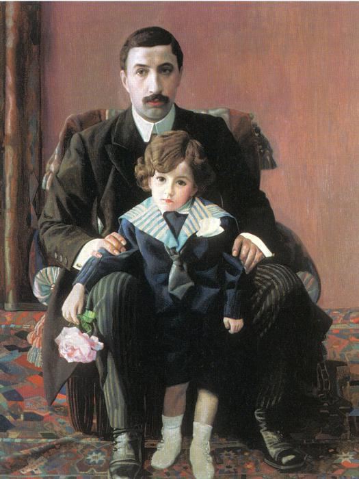 Oil painting:Portrait of Arman Franzevich Aziber with His Son. 1915