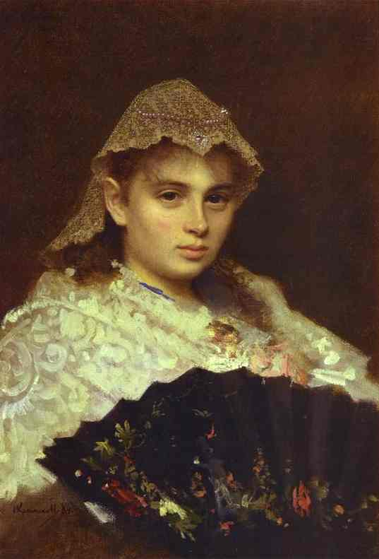 Oil painting:Portrait of O. Rophtopulo (Girl with a Fan). 1884