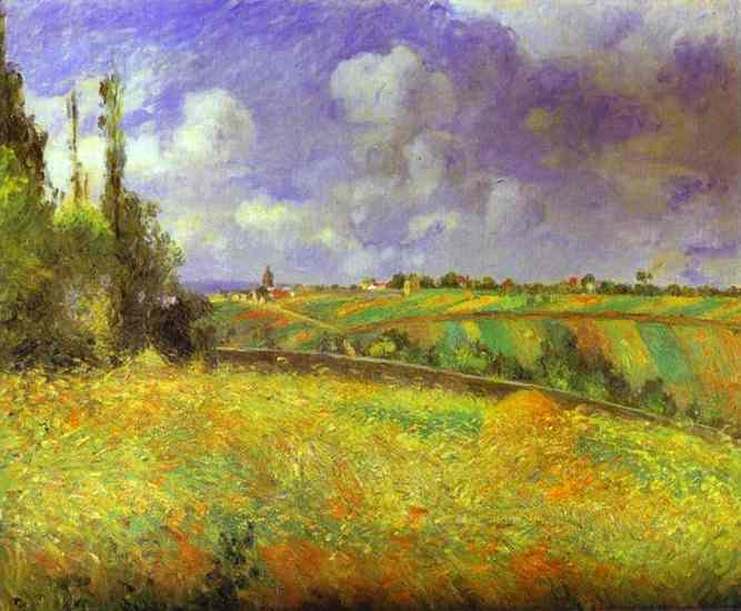 Oil painting:Rye Fields at Pontoise. C0te des Mathurins.