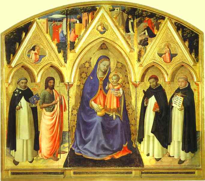 Oil painting:San Pietro Martire Triptych. 1428
