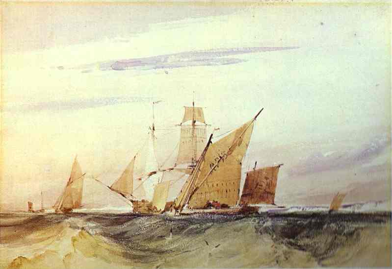 Oil painting:Shipping Off the Coast of Kent. 1825