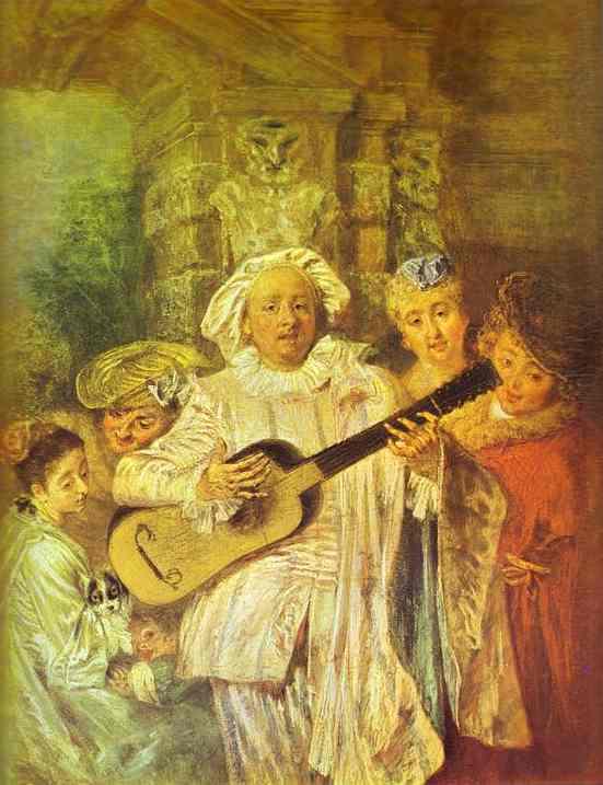 Oil painting:Sous un Habit de Mezetin. c. 1717