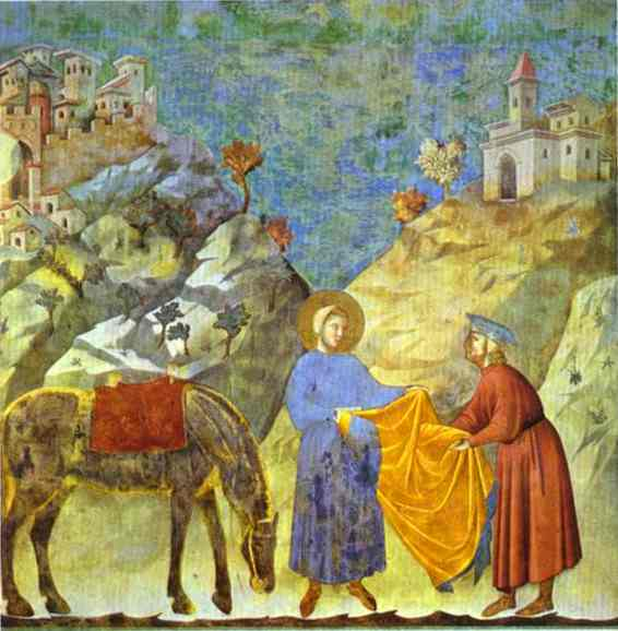 Oil painting:St. Francis Giving His Cloak to a Poor Man. 1295-1300