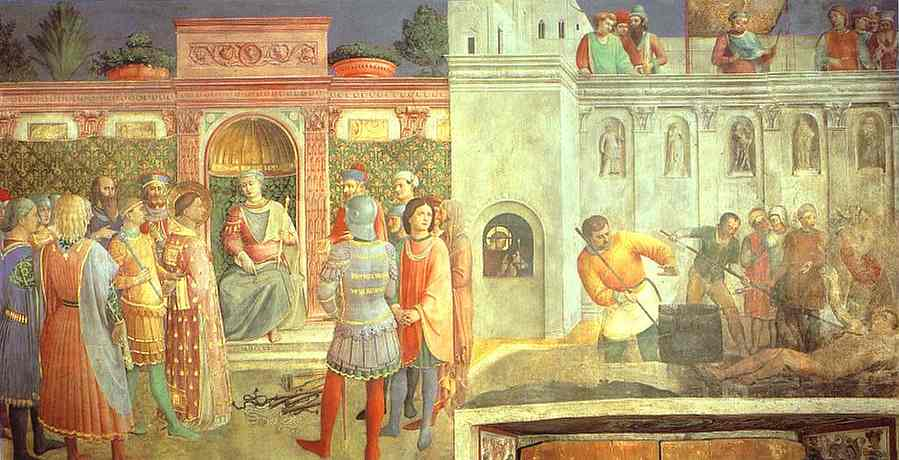 Oil painting:St. Lawrence Receiving the Treasures of the Church from St. Sixtus. 1447-1449