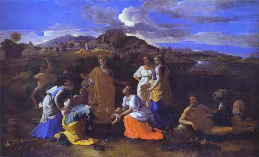 Oil painting:The Baby Moses Saved from the River. 1647