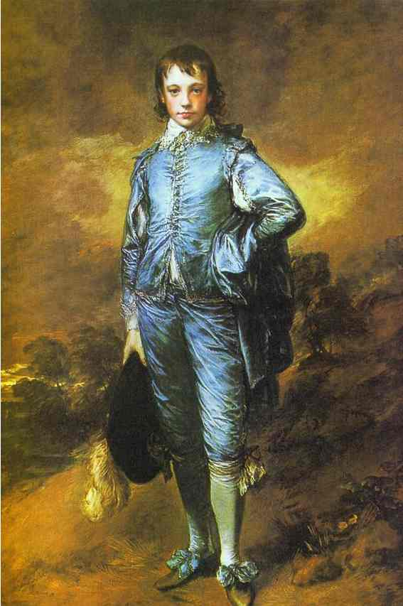 Oil painting:The Blue Boy. Exhibited R.A. 1770