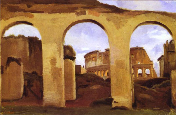 Oil painting:The Colosseum Seen through the Arcades of the Basilica of Constantine. 1825