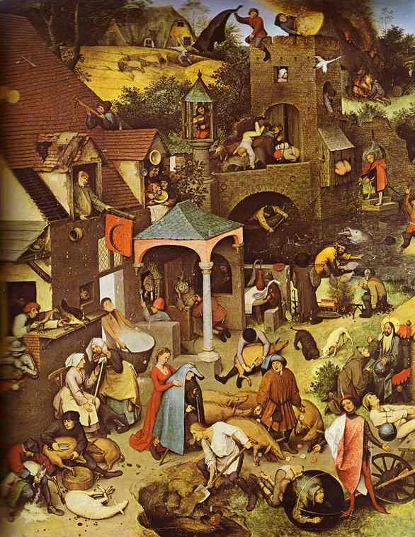 Oil painting:The Flemish Proverbs. Detail. 1559