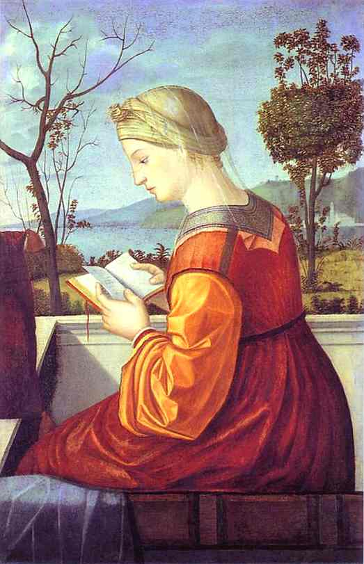 Oil painting:The Madonna Reading. c. 1505