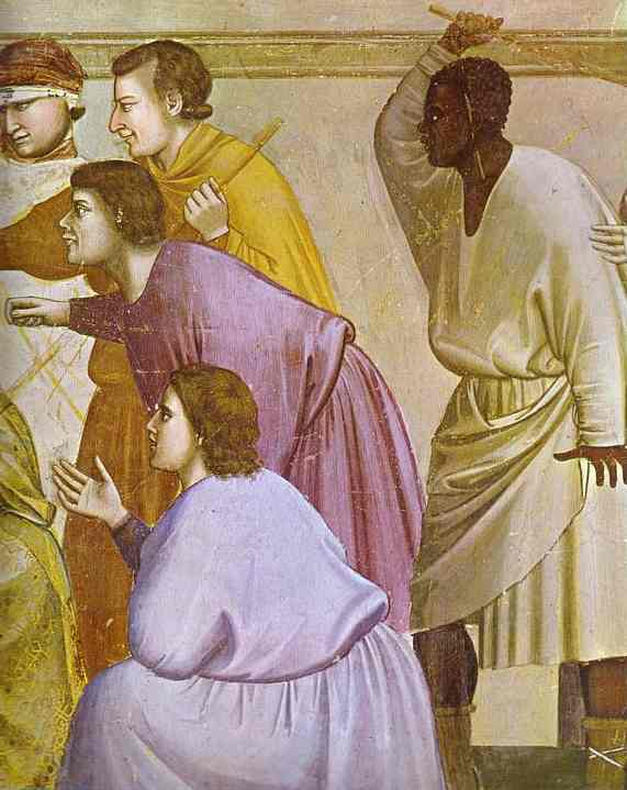 Oil painting:The Mocking of Christ and Flagellation. Detail. 1304-1306