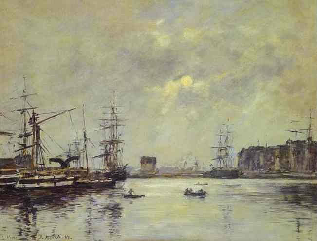 Oil painting:The Port of Ke Havre (Dock of La Barre). 1888