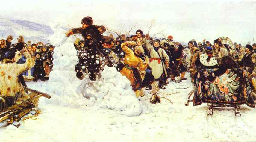 Oil painting:The Taking of a Snow Fortress. 1891