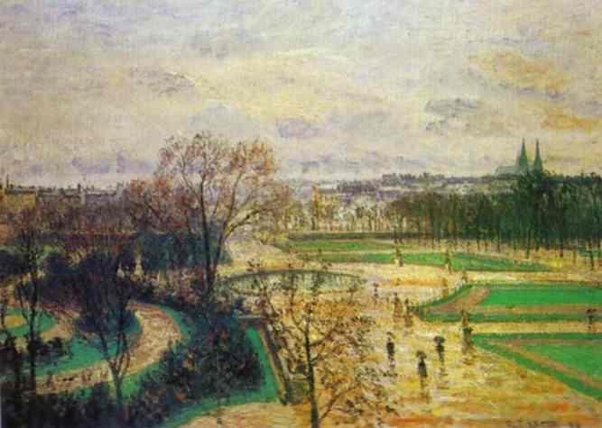 Oil painting:The Tuileries Gardens in Rain. 1899