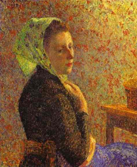 Oil painting:Woman with Green Scarf. 1893