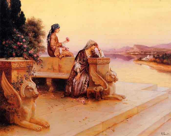 Oil painting for sale:Elegant Arab Ladies on a Terrace at Sunset