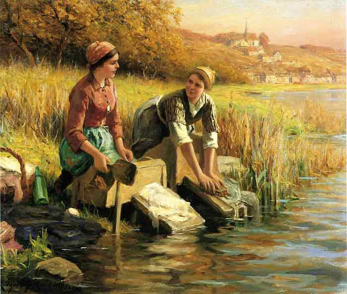 Oil painting for sale women washing clothes by a stream for Artworks for sale online
