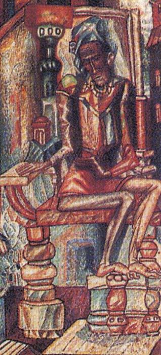 Oil painting:Man and Woman. Detail. 1912