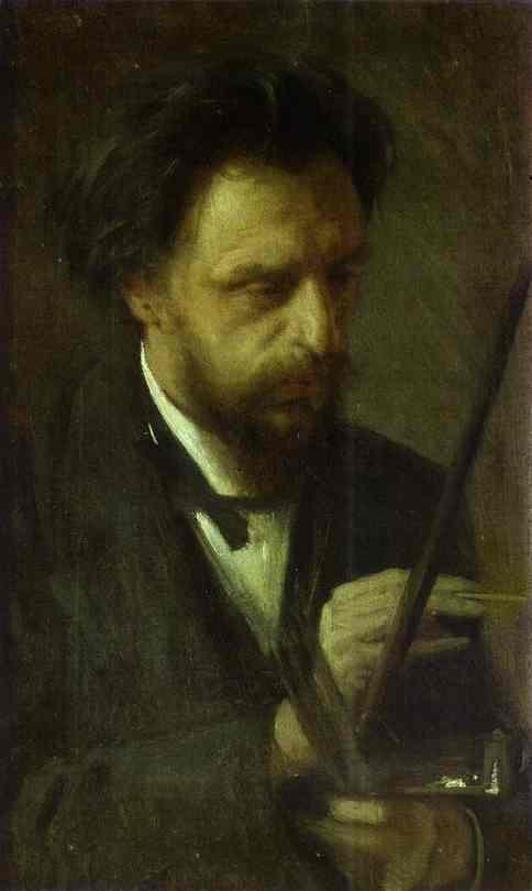 Oil painting:Portrait of the Artist Grigory Myasoyedov. 1872