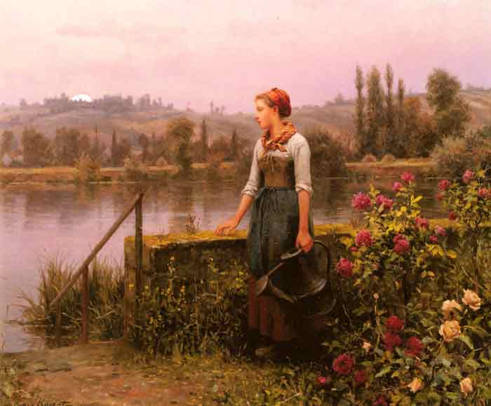 Oil painting for sale:A Woman with a Watering Can by the River