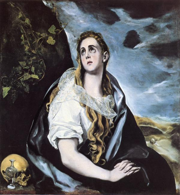 Oil painting:Mary Magdalen in Penitence. c. 1577
