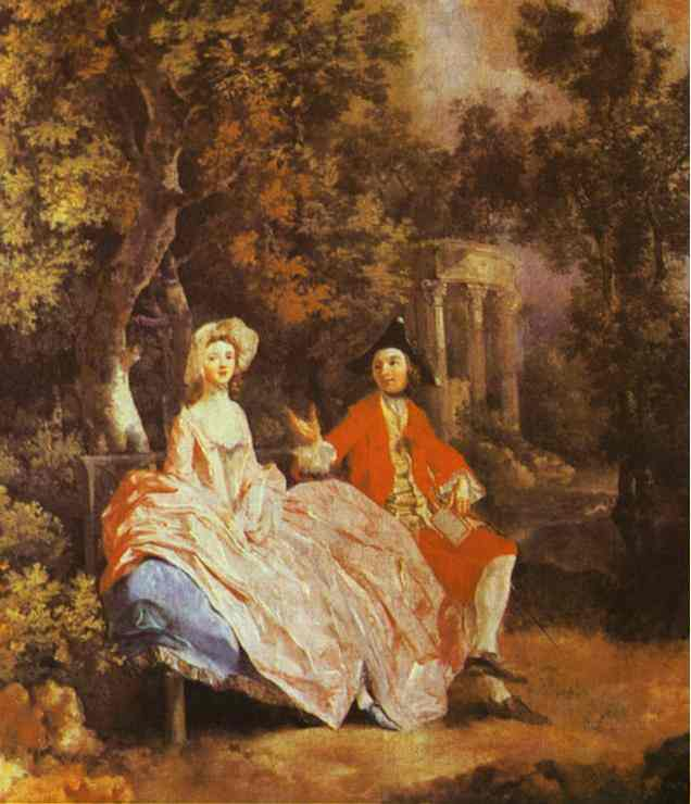 Oil painting:Self-Portrait with His Wife, Margaret (probably). About 1746
