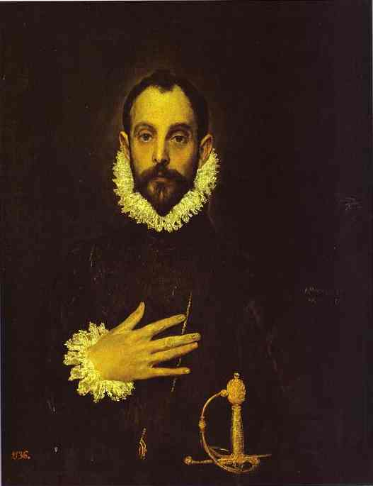 Oil painting:Portrait of a Nobleman with His Hand on His Chest. c.1580