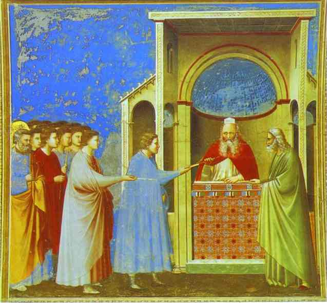 Oil painting:The Bringing of the Rods. 1302
