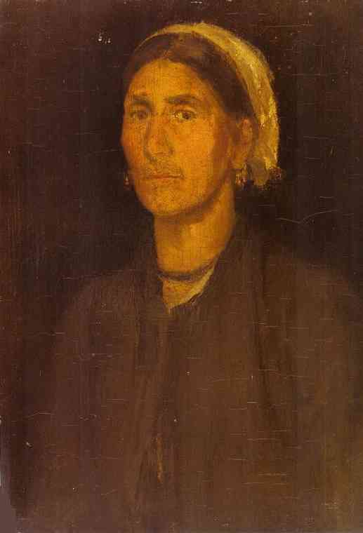 Oil painting:Head of a Peasant Woman. 1855