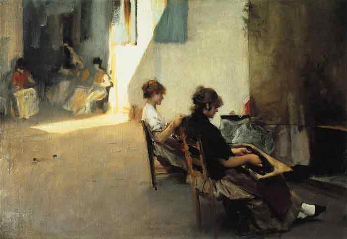 Oil painting for sale:Venetian Bead Stringers, 1880