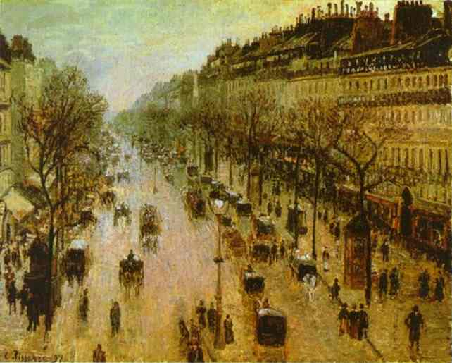 Oil painting:The Boulevard Montmartre on a Winter Morning. 1897