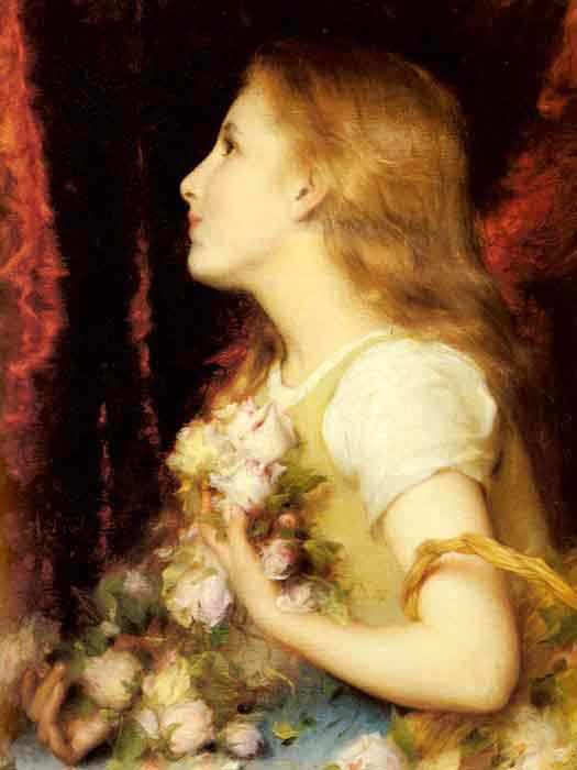 Oil painting for sale:A Young Girl with a Basket of Flowers