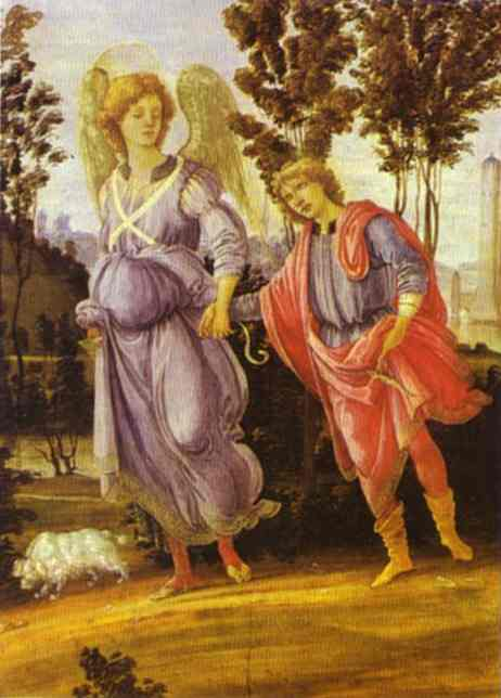 Oil painting:Tobias and the Angel. c.1480