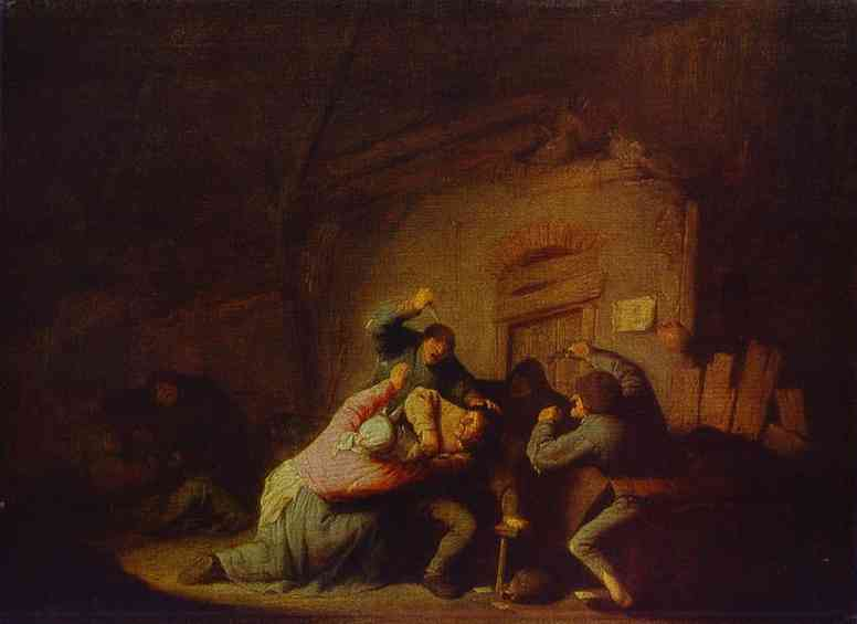 Oil painting:A Fight. The Pushkin Museum of Fine Art, Moscow, Russia.