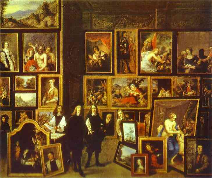 Oil painting:Archduke Leopold-Wilhelm in His Art Gallery in Brussels. 1653