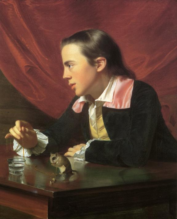 Oil painting:Boy with Squirrel (Henry Pelham). 1765