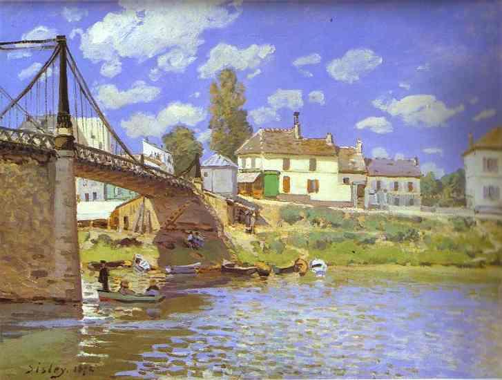 Oil painting:Bridge at Villeneuve-la-Garenne. 1872
