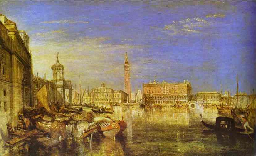 Oil painting:Bridge of Signs, Ducal Palace and Custom-House, Venice: Canaletti Painting. 1833