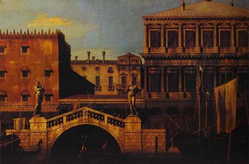Oil painting:Capriccio: the Ponte della Pescaria and Buildings on the Quay. 1742