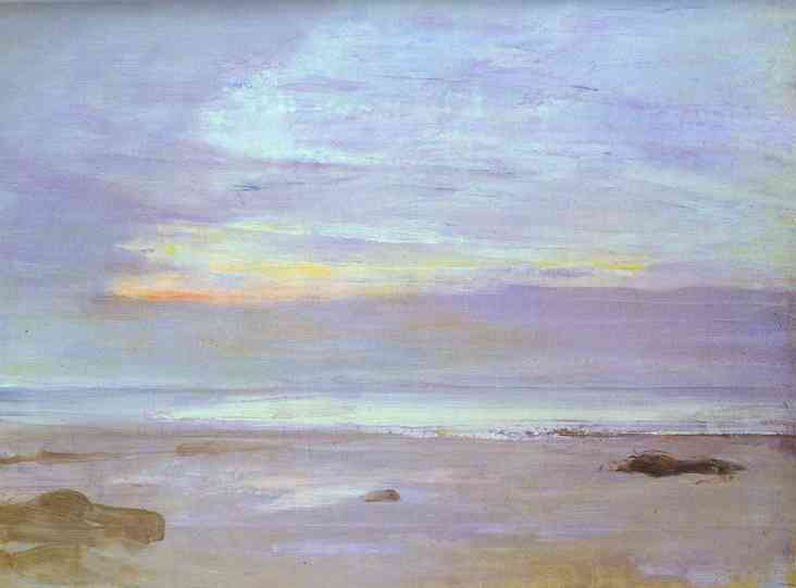 Oil painting:Crepuscule in Opal: Trouville. 1865